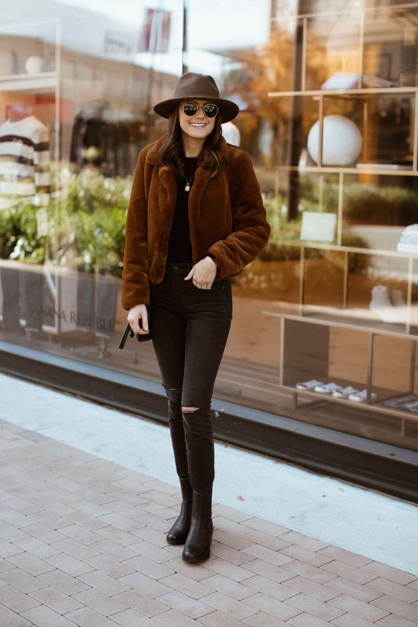Brown-velvet-jacket-and-denim-pants