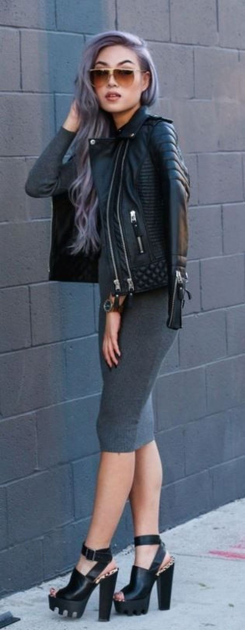 Grey-slim-dress-and-denim-jacket