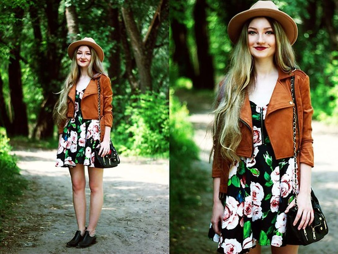 Pretty-combination-floral-dress-and-brown-jacket-add-a-round-hat-for-your-style-traveling