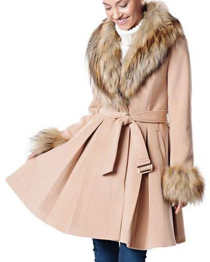 Beige furry coat