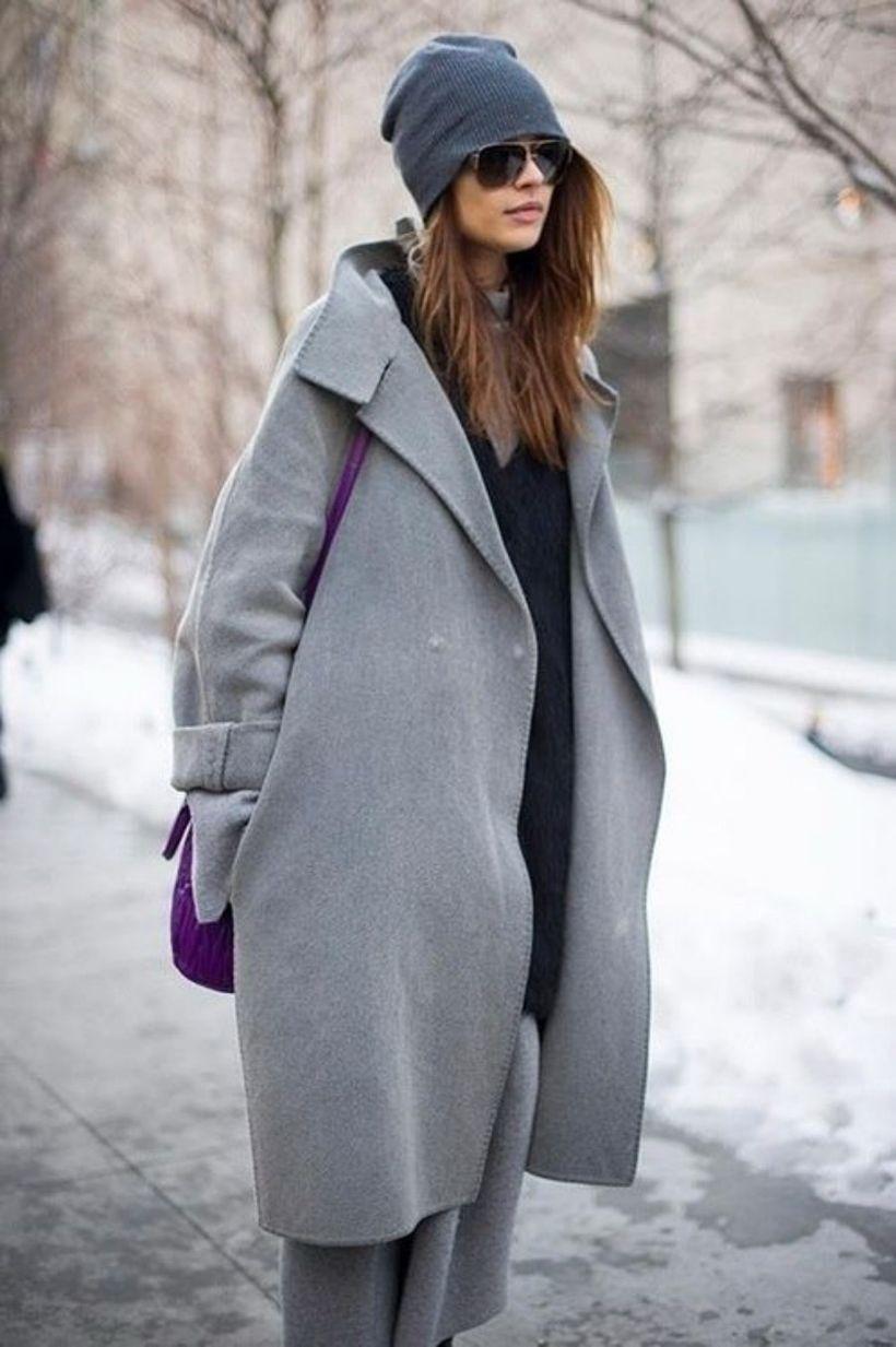 Elegant long gray coat ideas