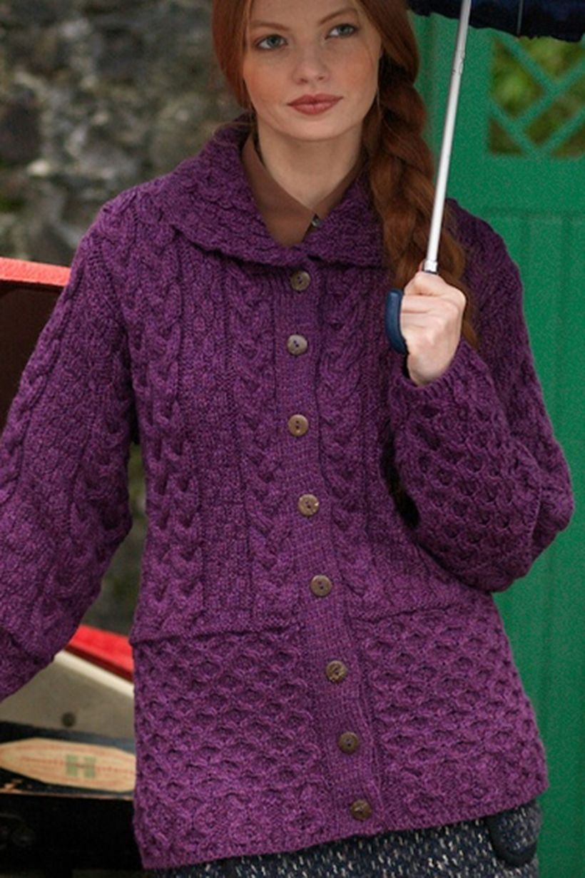 Beautiful long sleeves purple sweaters with button and collar for amazing style