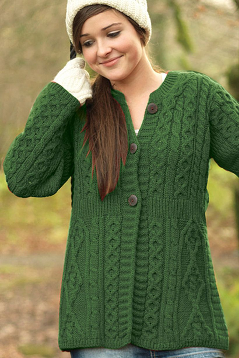 Green buttoned sweaters ideas with white gloves and skullcaps