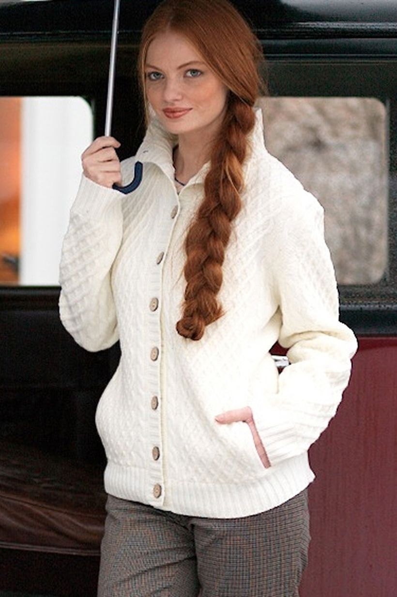 Interesting long sleeve white sweaters with button for cute women