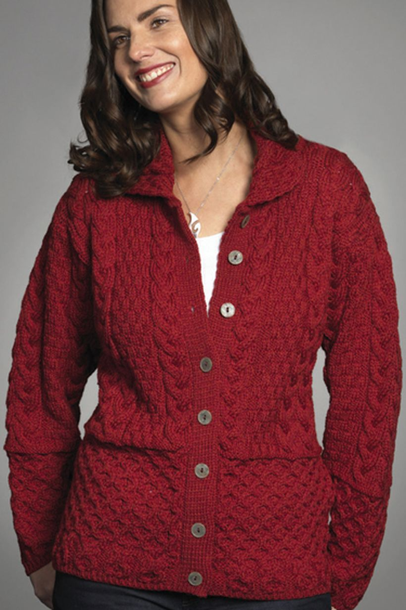 Long sleeves red sweaters buttoned ideas for simple style