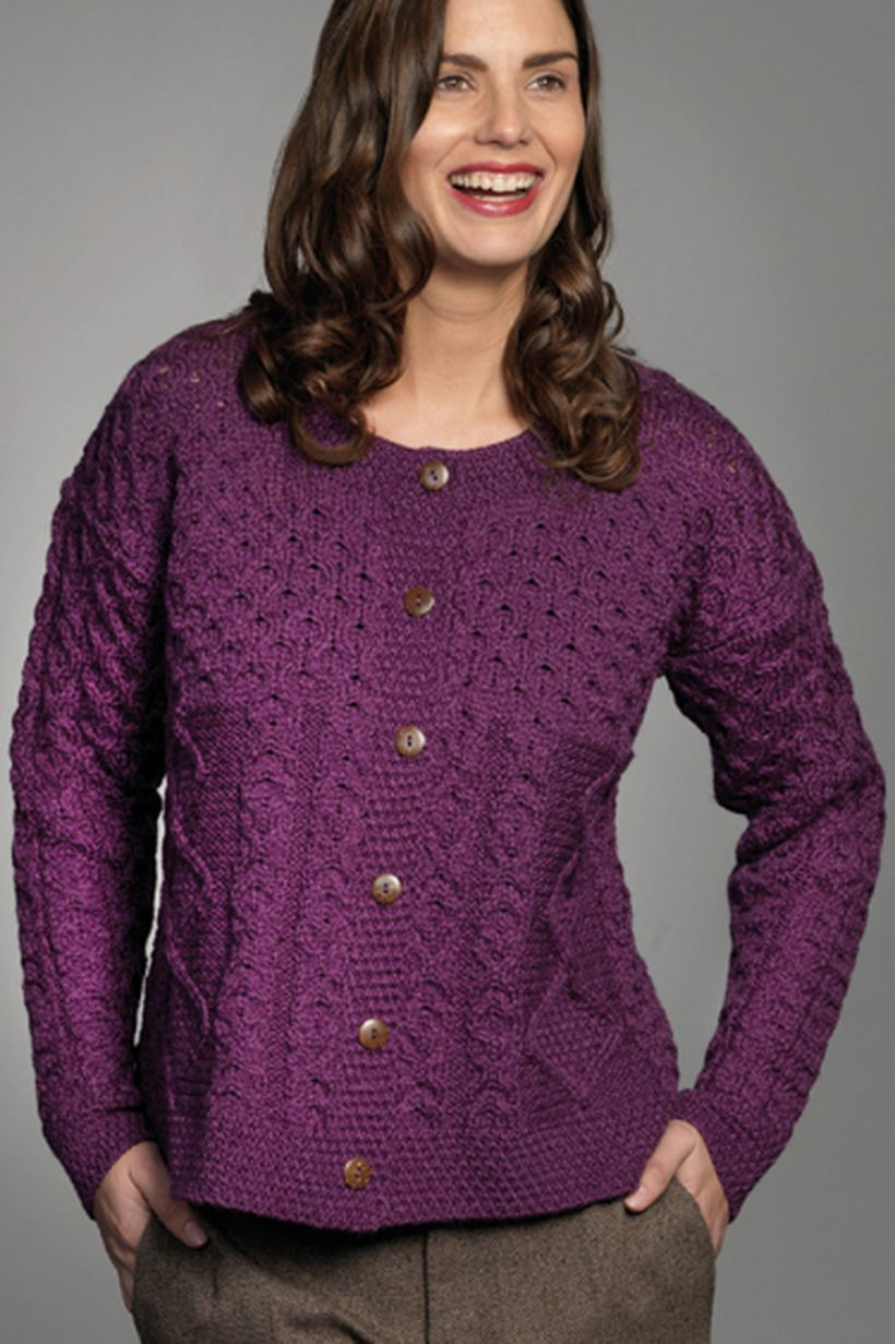 Pretty long sleeves purple sweaters with button to look cheerful