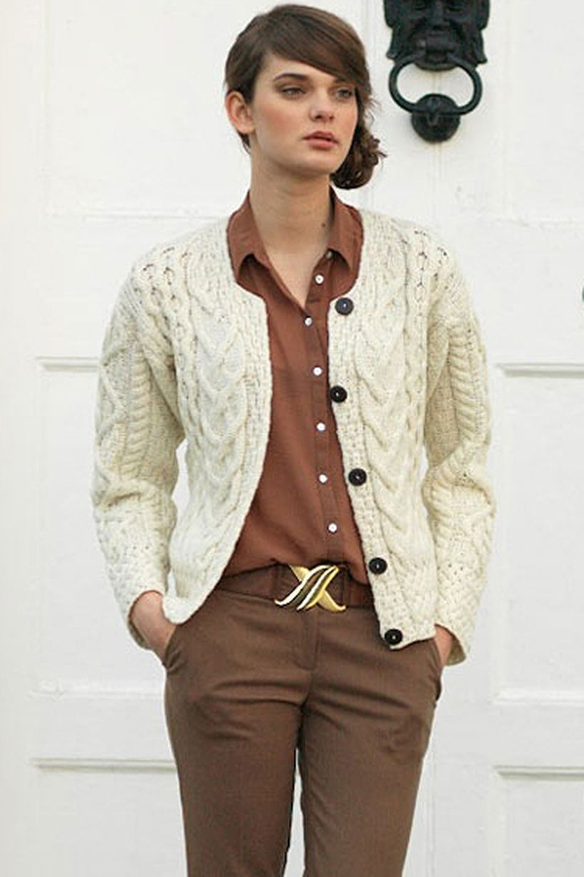 Stunning white sweaters with buttoned to look casual