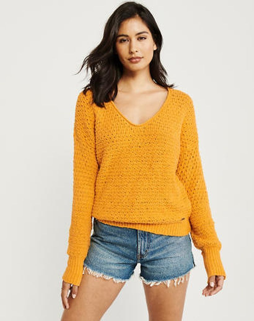 Fabulous long sleeves sweaters with orange color for beautiful style