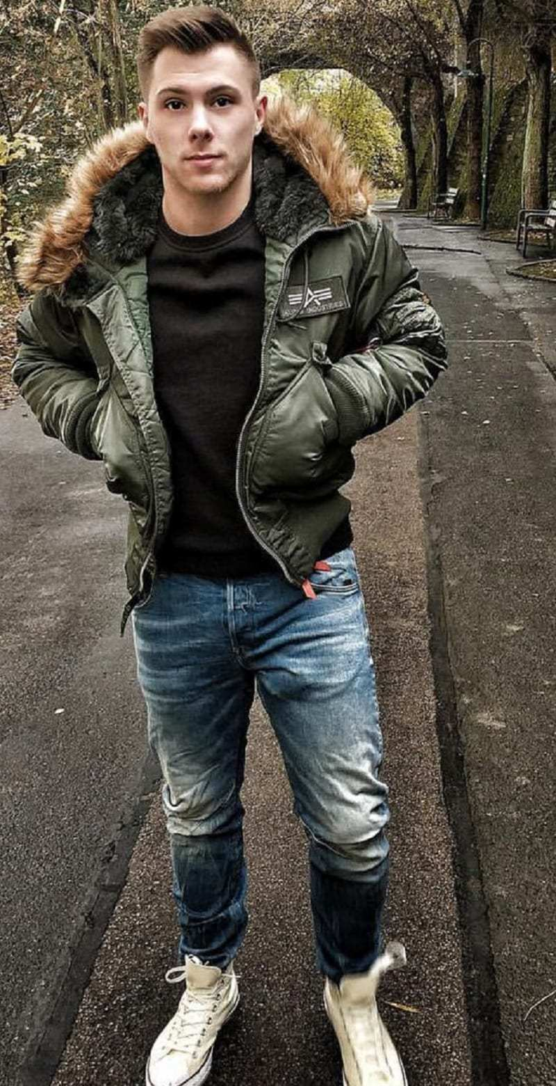 Bomber jacket with fur collar