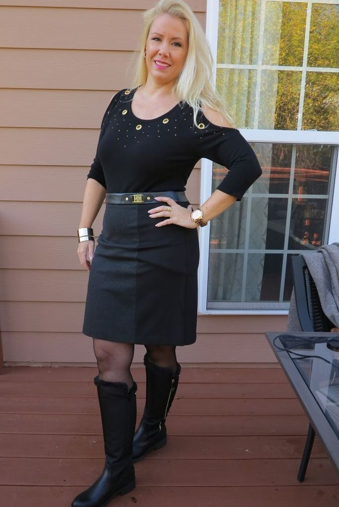 Black top combined with black skirt