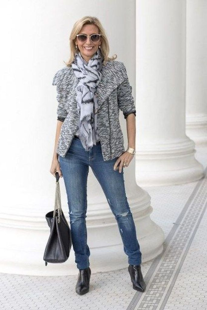 Beautiful scarf combined with light grey blazer combined with jeans