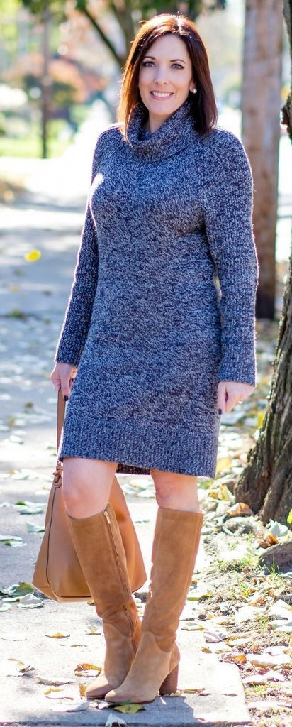 Knit dress combined with brown boots