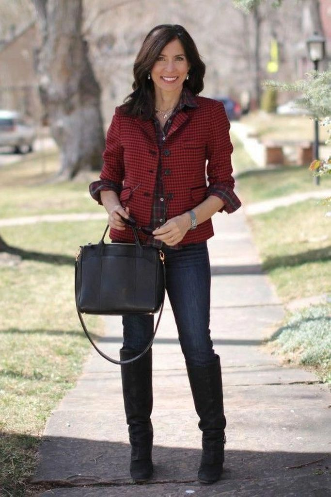 Knee boots combined wirh jeans and red plaid top