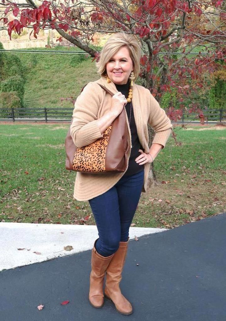 Light brown sweater combined with jeans