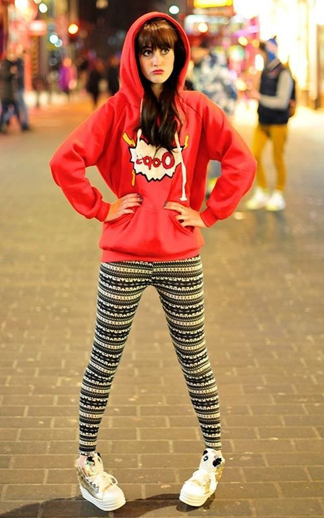 An-awesome-casual-outfit-with-red-cute-hoodie-combined-with-patterned-legging-to-perfect-your-style