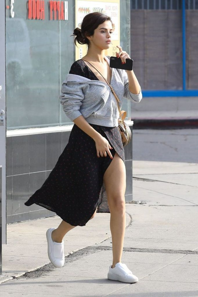 An-awesome-black-dress-combined-with-grey-hoodie-to-perfect-your-style