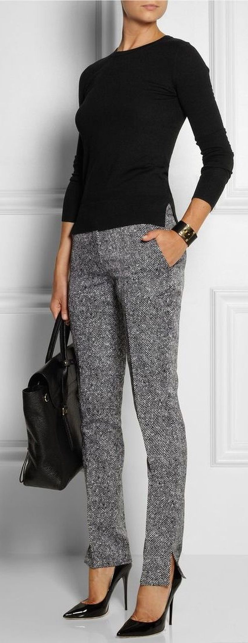 Black-sweater-and-grey-pants