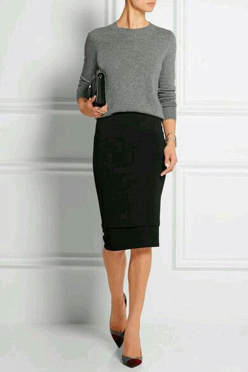 Grey-sweater-and-black-skirt-you-must-try