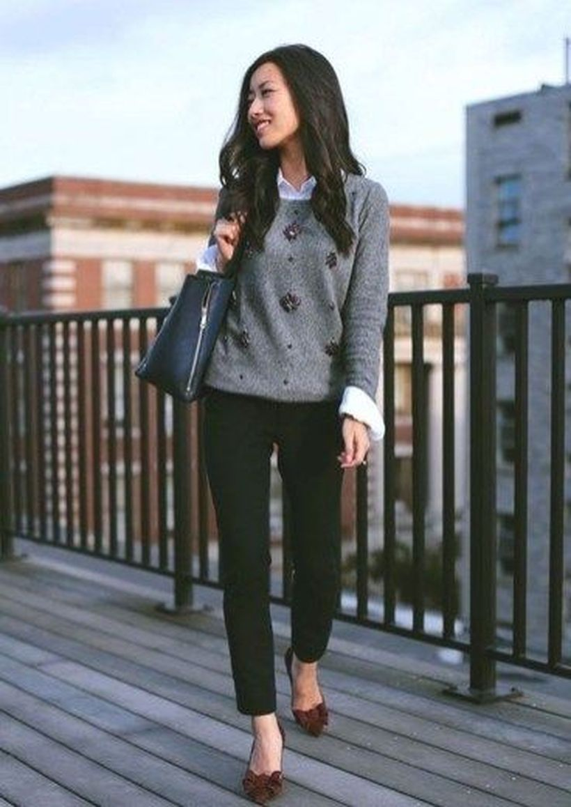 Grey-sweater-and-black-pants