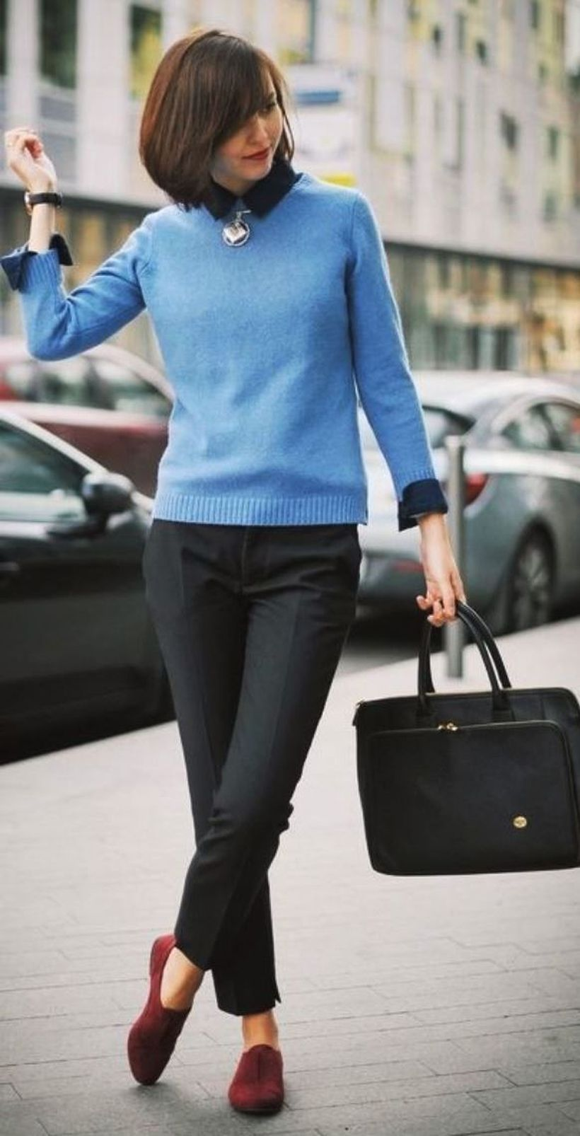 Pretty-blue-sweater-and-black-pants