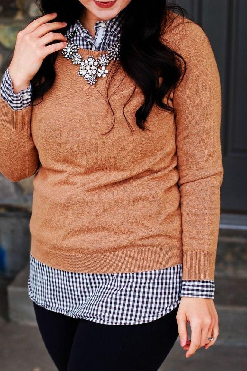 Long-sleeve-plaid-shirt-and-orange-sweater