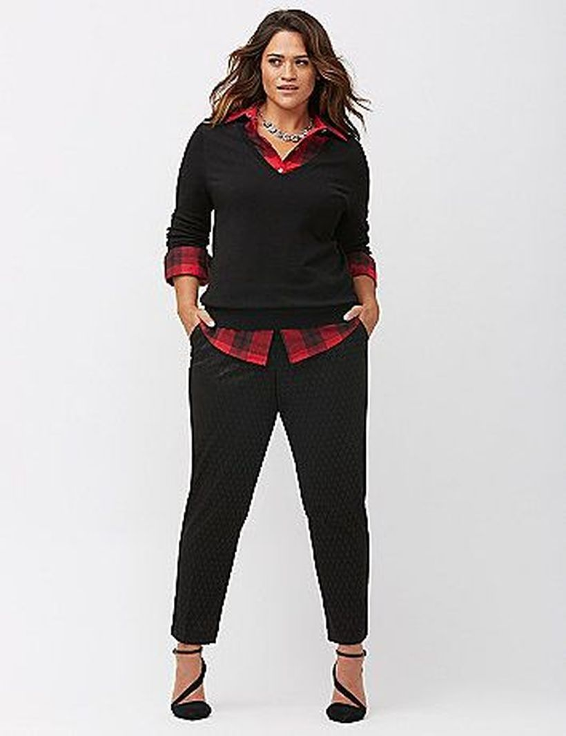 Long-sleeve-red-plaid-shirt-and-black-sweater