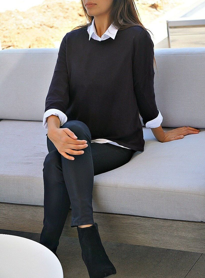 Long-sleeve-white-shirt-and-black-sweater