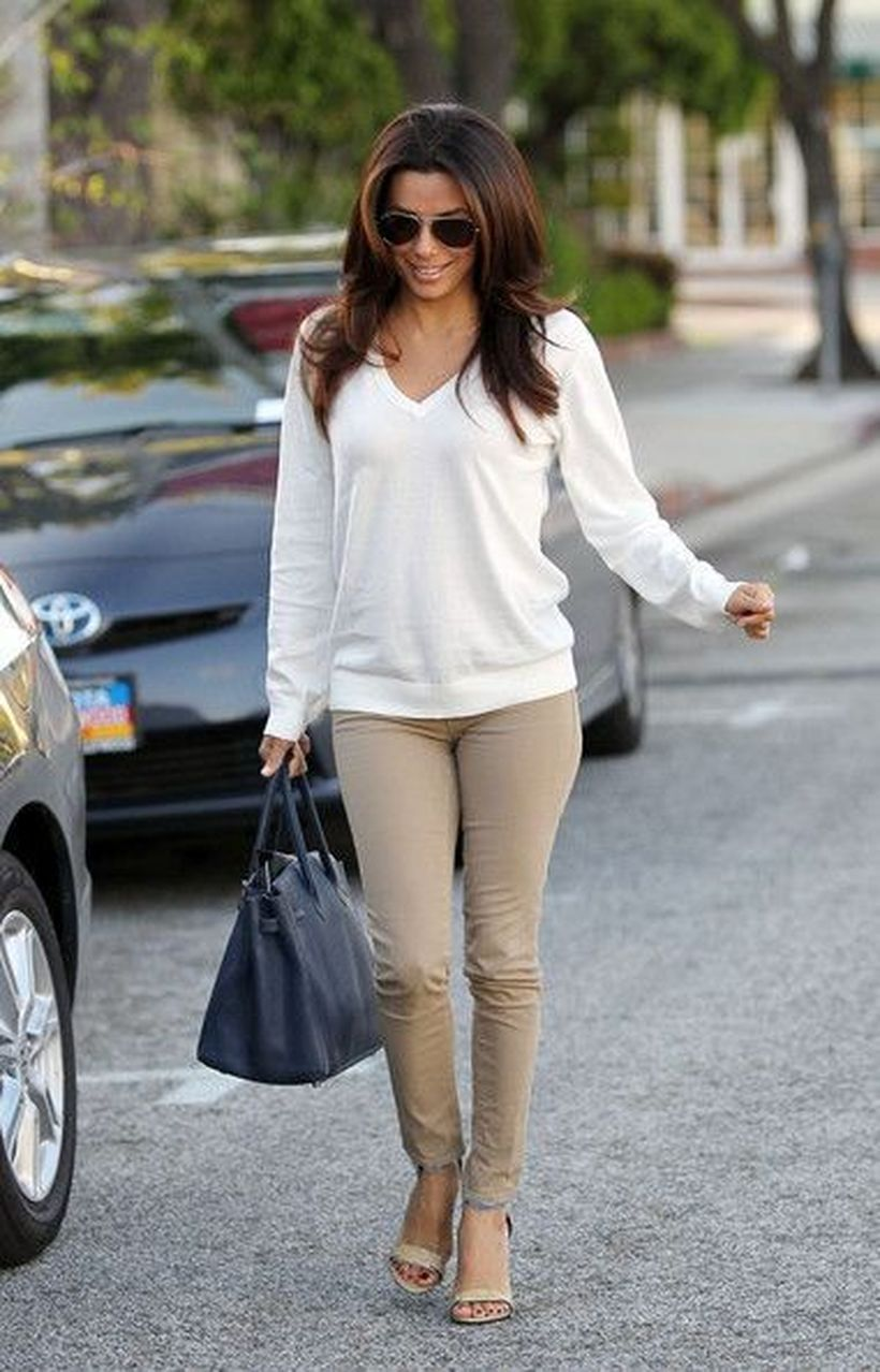 White-sweater-and-beige-pants