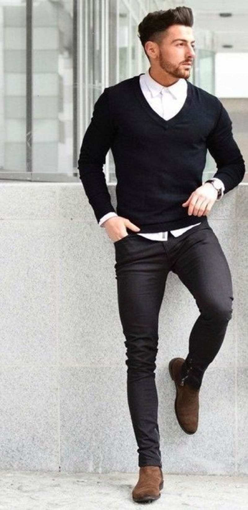 Working outfit with skinny black jeans