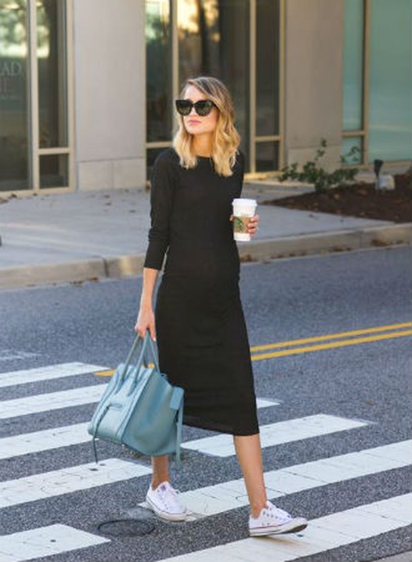 Team-sneakers-with-a-midi-dress.-