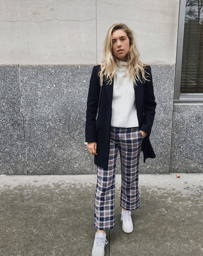 Plaid-trouser-pairing-and-white-sneakers.-