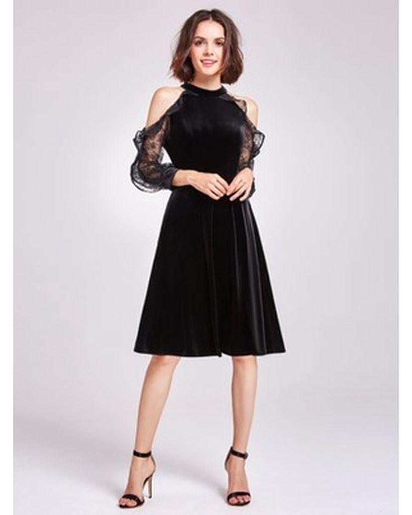 Black dress with black high helss