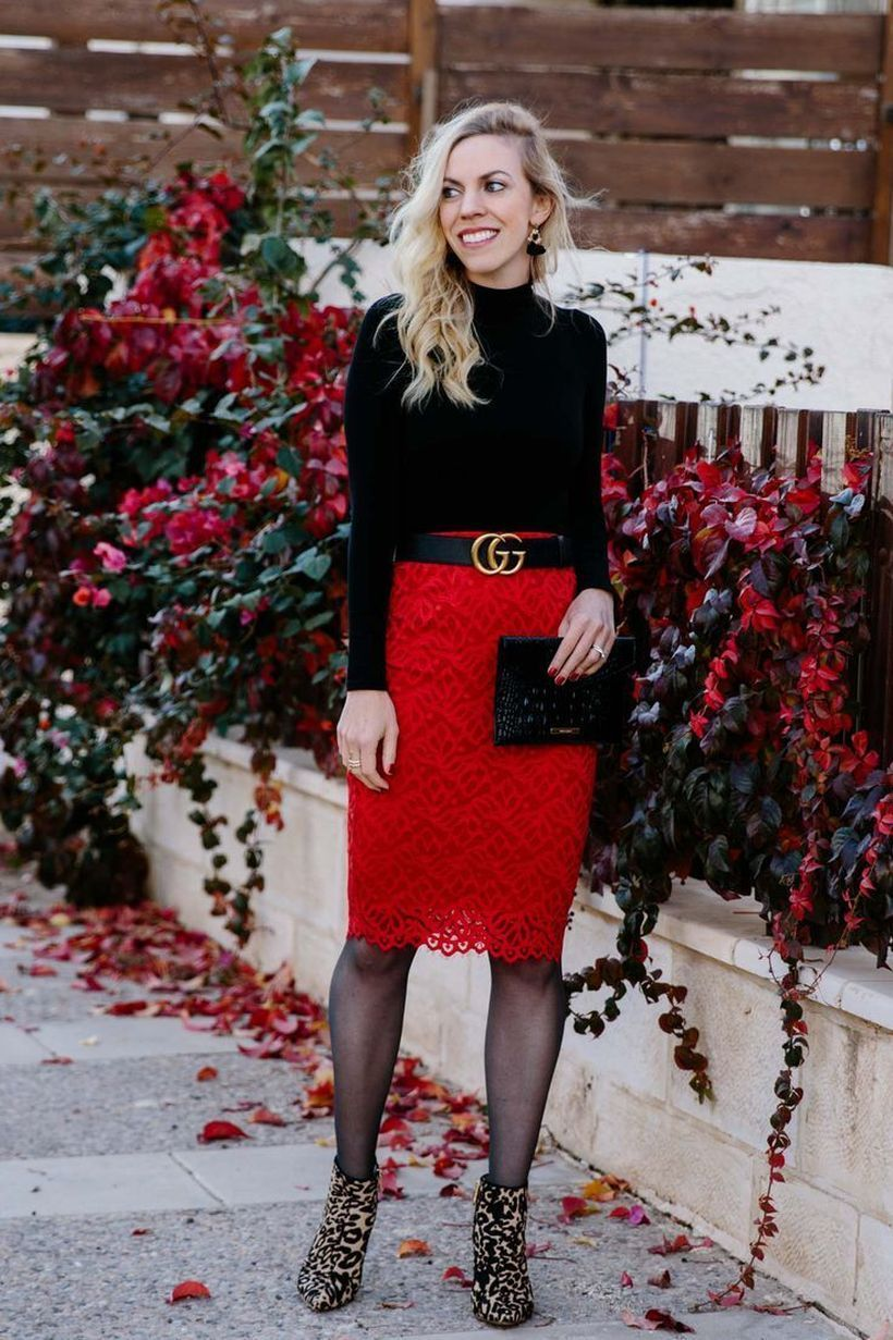 Black t-shirt with red pattern skirt
