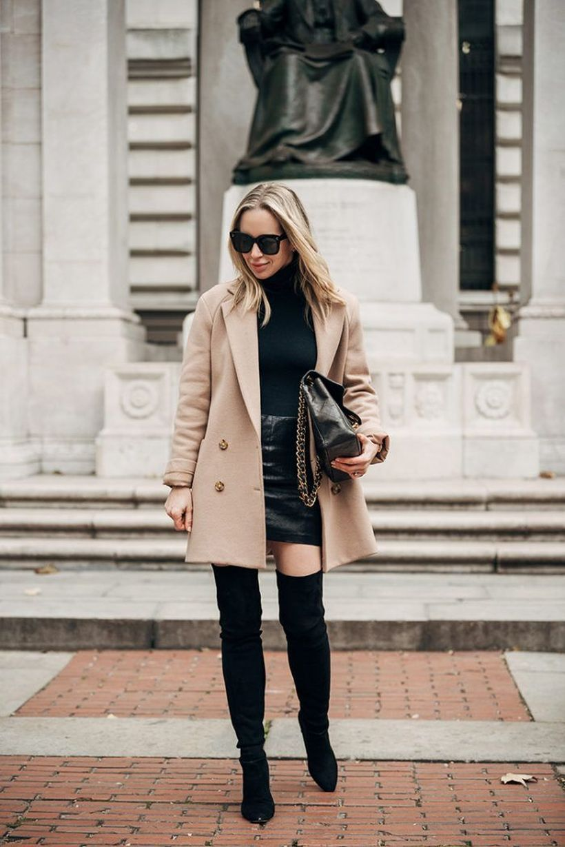 long beige outer with black dress