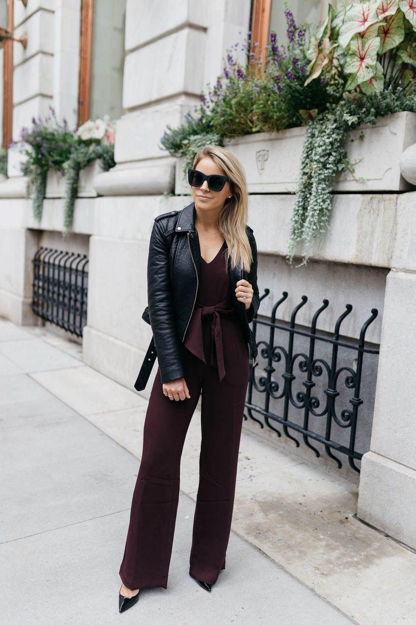 Brown jumpsuit with black jacket