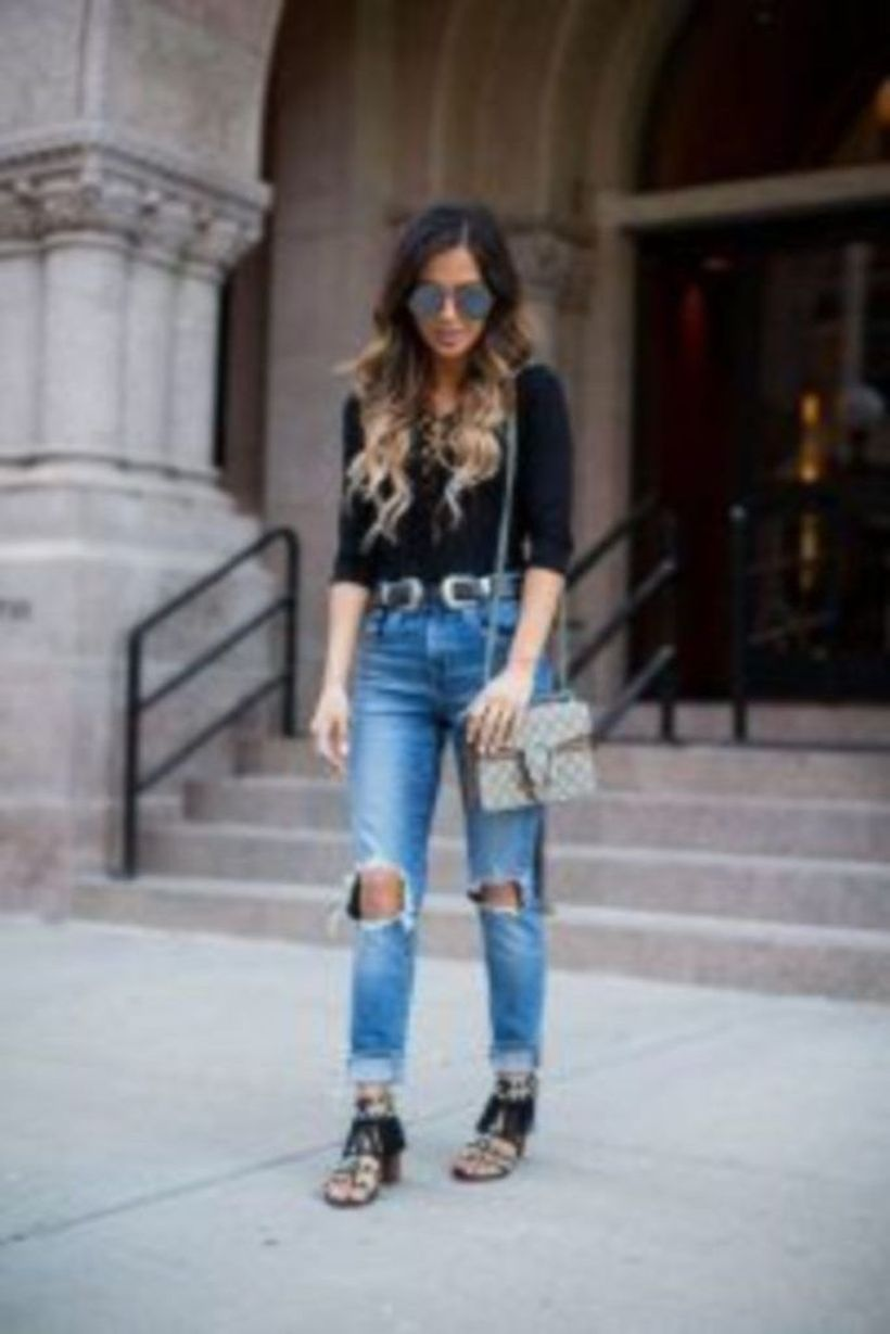 Black shirt with ripped jeans