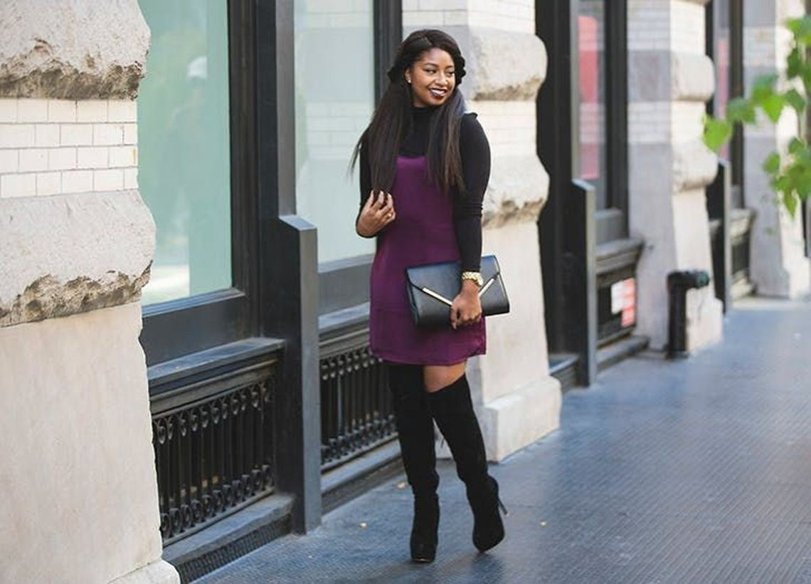 Purple dress and long black shoes