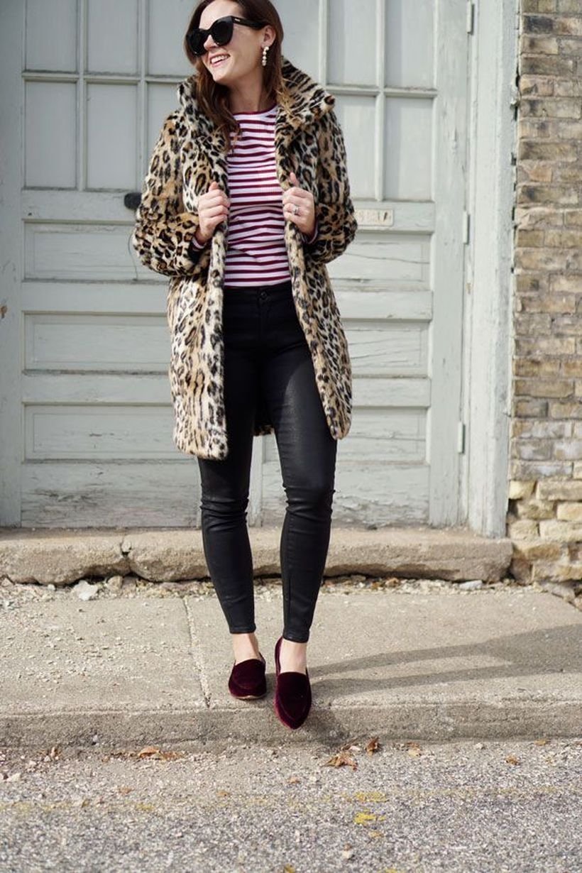 Pattern jacket with t-shirt striped