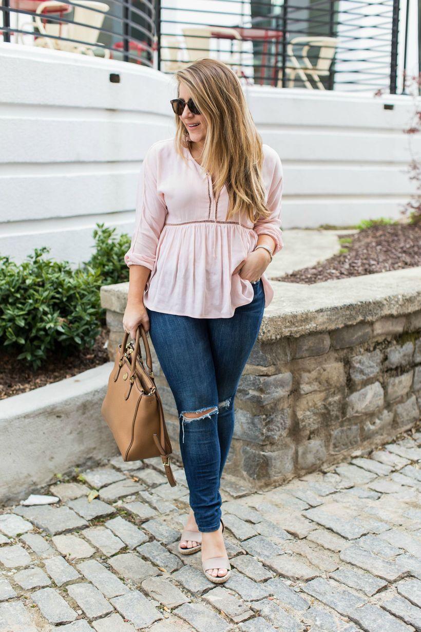 Pink shirt with blue denim pants