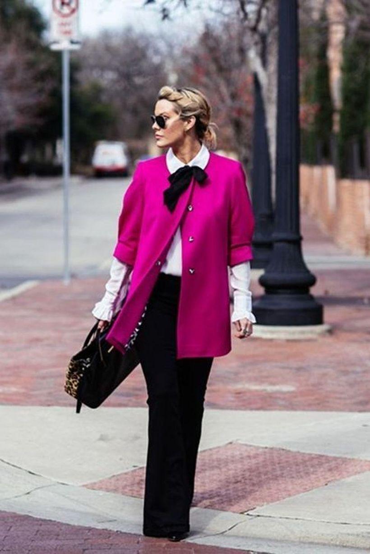 Pink blazer with black pants