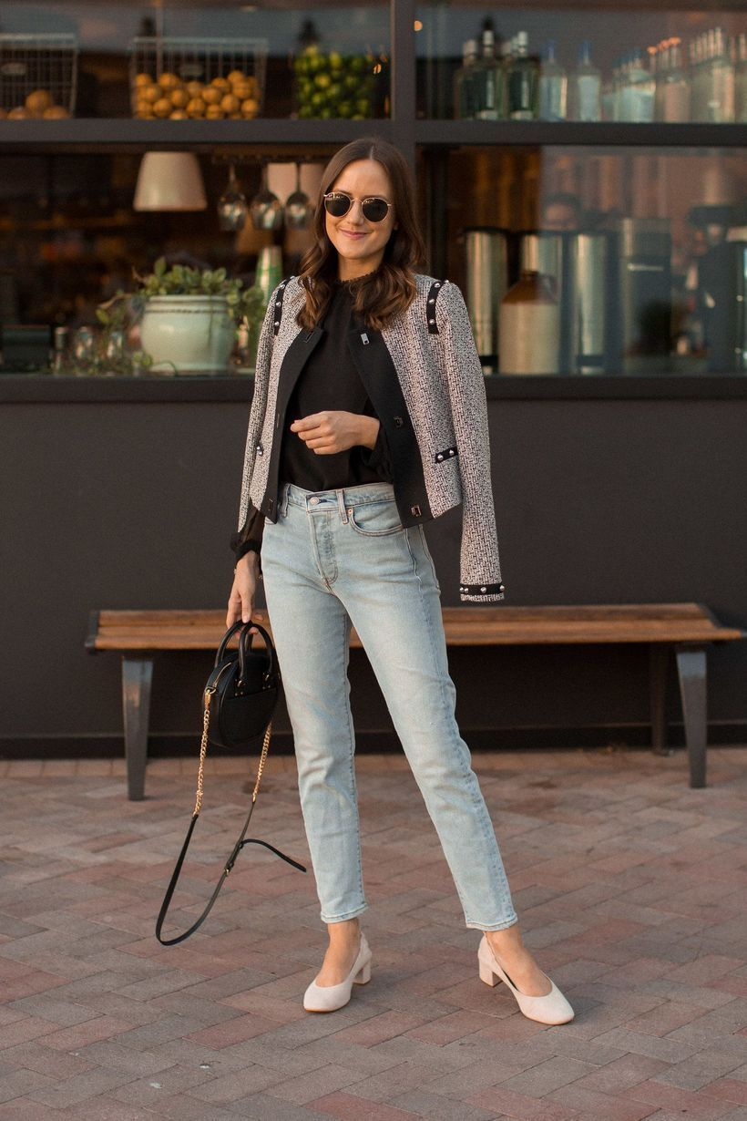Pattern jacket and silver denim