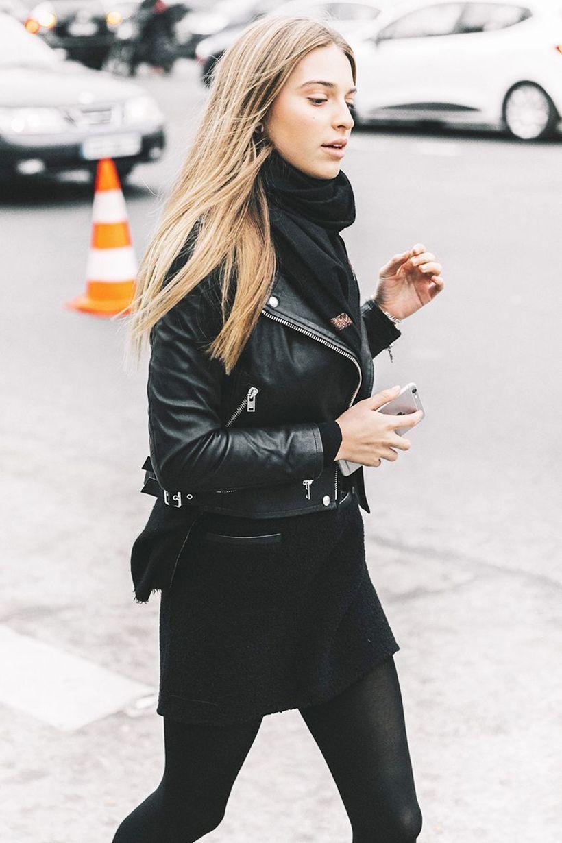 Small black jacket with mini skirt
