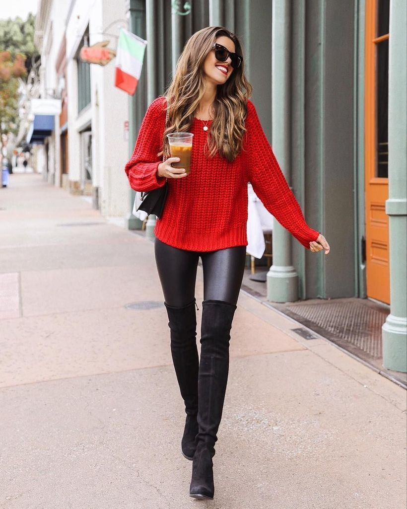Red sweater with long black shoes