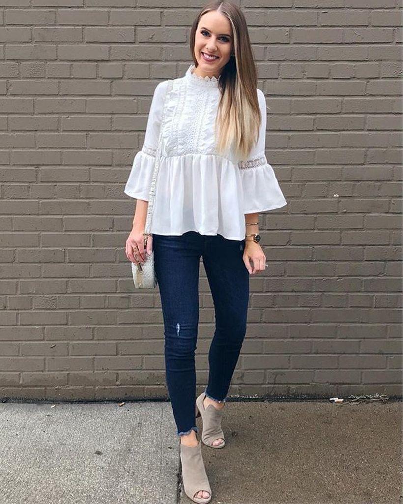 White shirt and denim pants