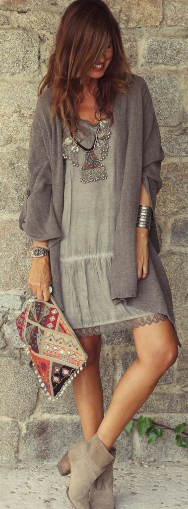 Grey dress before cardigan to perfect your style