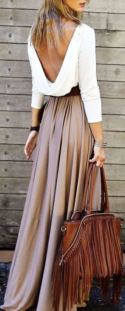 White long sleeve t-shirt combined with grey skirt