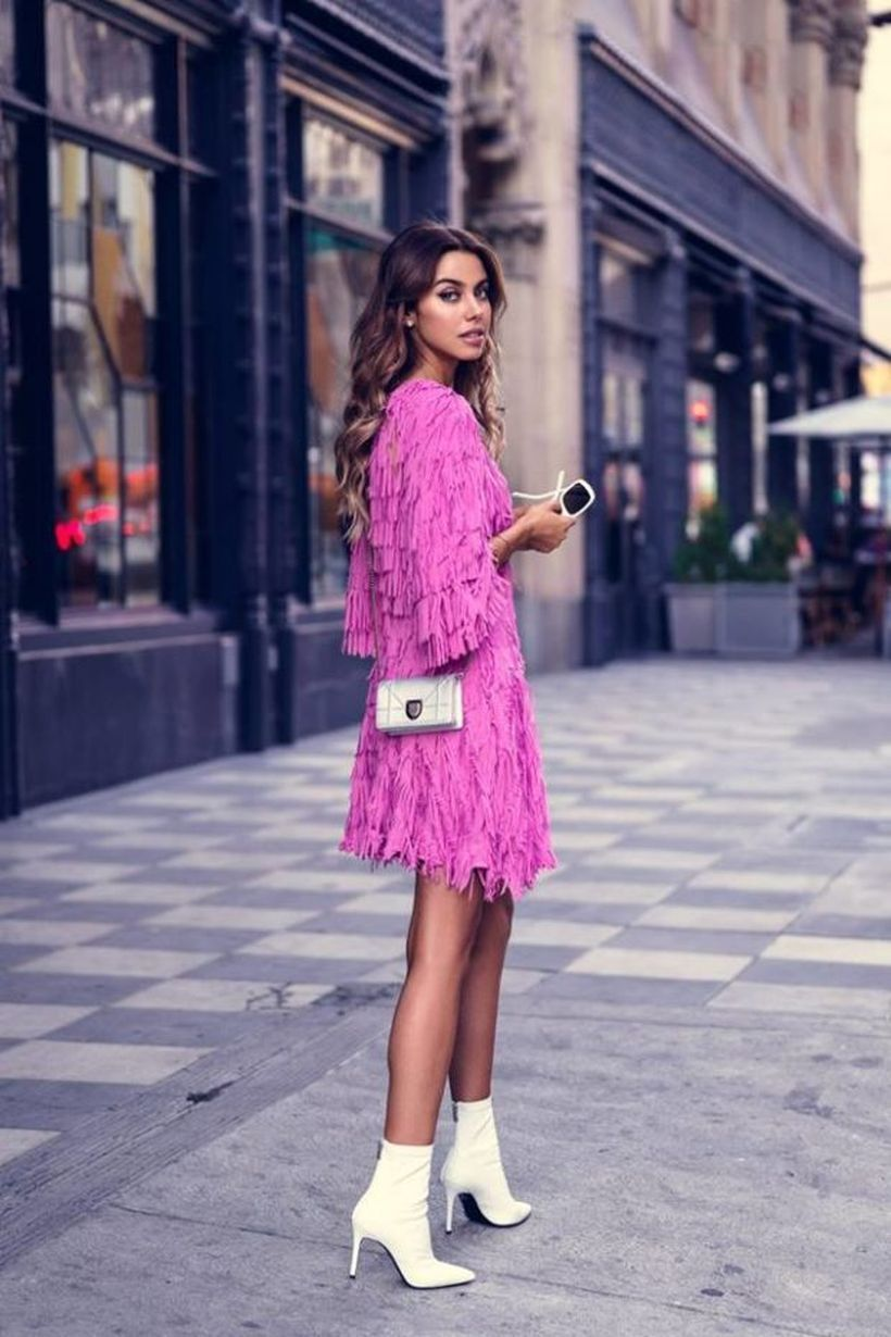 An-awesome-birthday-party-outfit-for-your-special-moment-with-a-pink-dress-made-of-woll-yarn-is-combined-with-a-modern-high-heels-and-a-small-silver-bag.-
