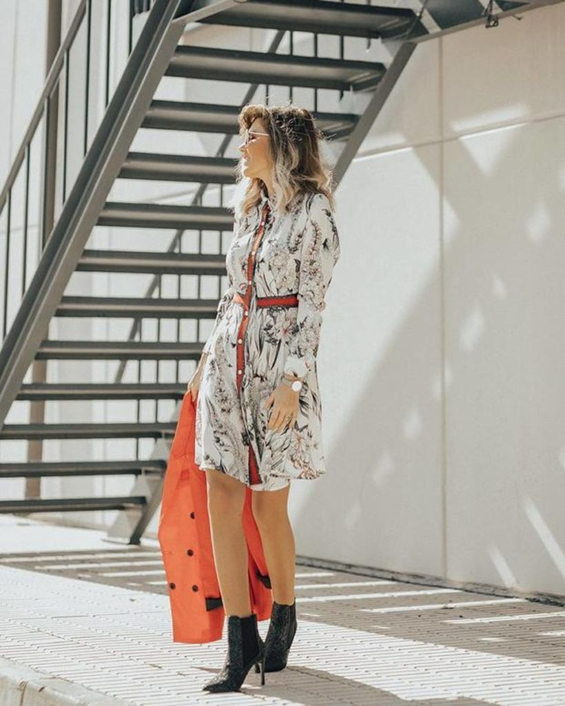 An-impressive-birthday-party-outfit-for-your-special-moment-with-floral-dress-orange-vest-black-high-heels-and-add-accessories-to-add-to-your-style.-
