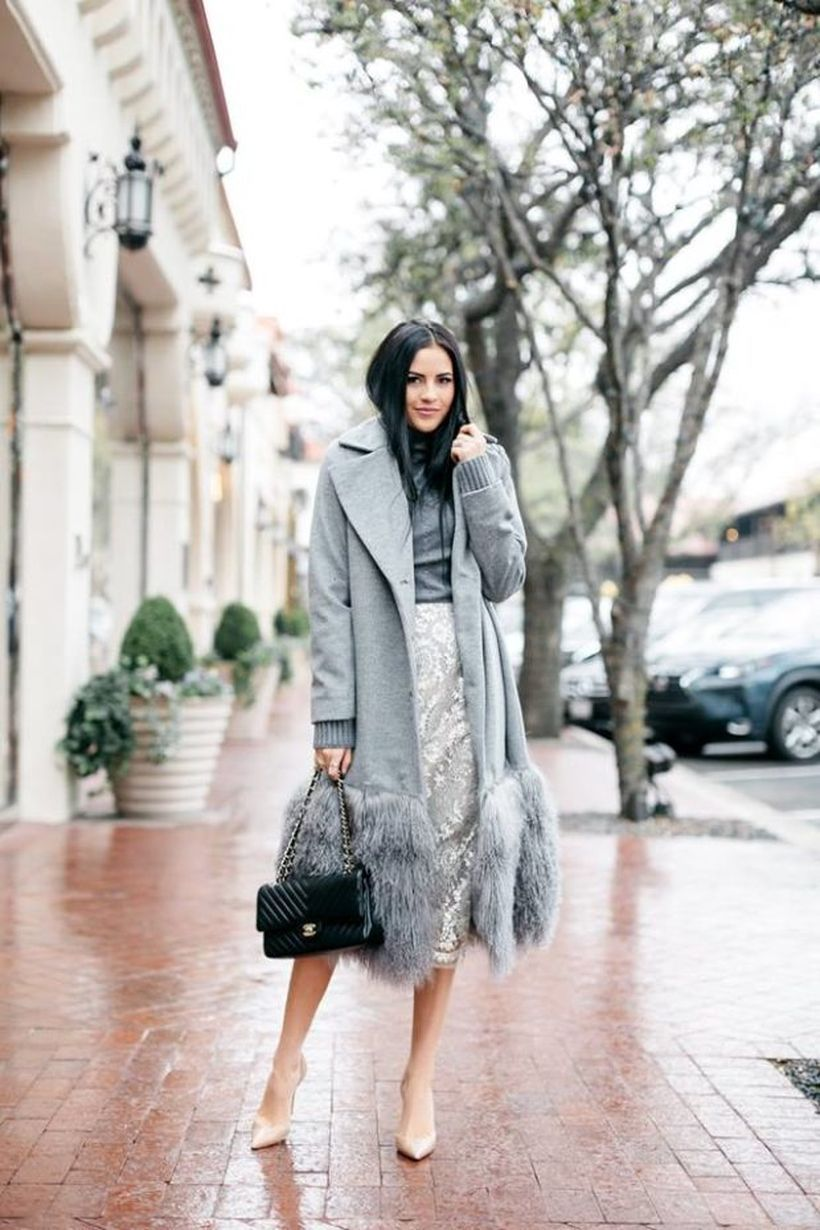 An-exciting-birthday-party-outfit-for-your-special-moment-with-long-furry-coat-under-gray-gray-top-transparent-selutun-skirt-black-handbag-and-high-heels-to-get-the-perfect-look-this-year.-
