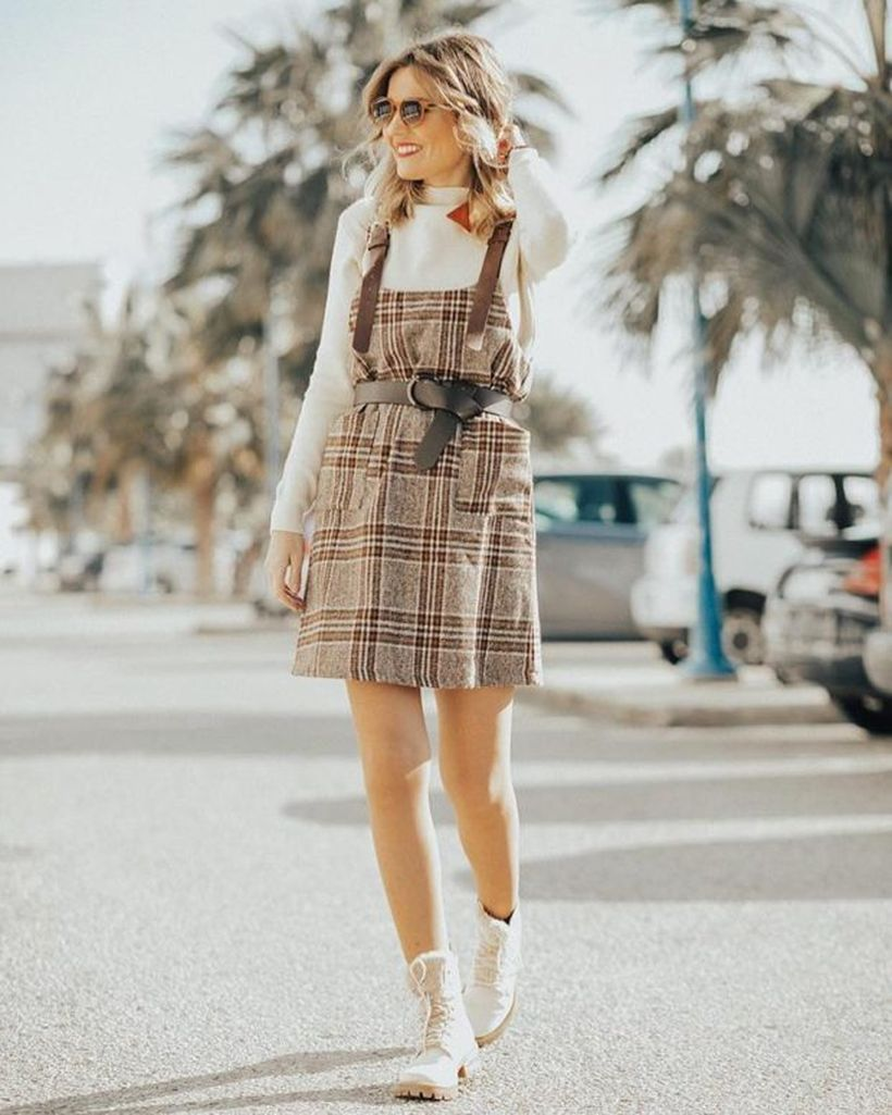 A-beautiful-birthday-party-outfit-for-your-special-moment-with-white-sweater-patterned-dress-and-white-boots-to-look-cute.-